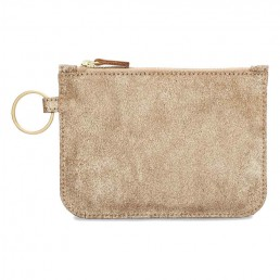 Leather Zip Pouch - Gold Suede
