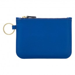 Leather Zip Pouch - Blue