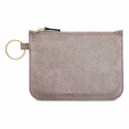 Leather Zip Pouch - Platinum