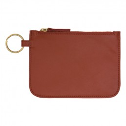 Leather Zip Pouch - Rust