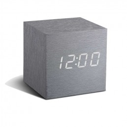 Gingko Cube Alarm Clock - Aluminium & White LED