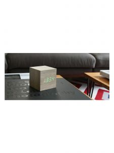 Gingko Cube Alarm Clock - Ash & Green LED - Lifestyle Photo