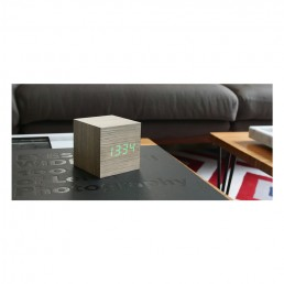Gingko Cube Alarm Clock - Ash & Green LED - Lifestyle Photo