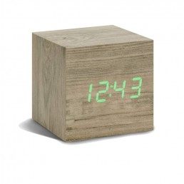 Gingko Cube Alarm Clock - Ash & Green LED