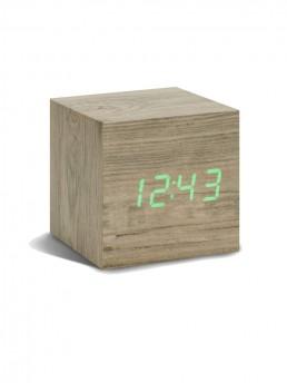 Gingko Cube Alarm Clock - Ash & Green LED