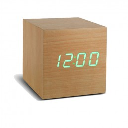 Gingko Cube Alarm Clock - Beech & Green LED