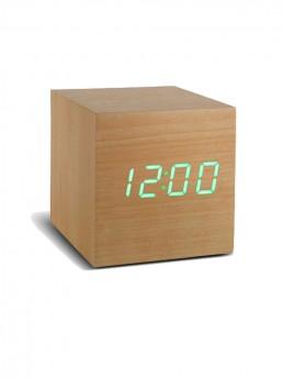 Gingko Cube Alarm Clock - Beech & Green LED