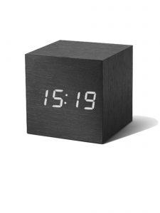 Gingko Cube Alarm Clock - Black & White LED