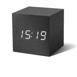 Gingko Cube Alarm Clock - Black & White LED