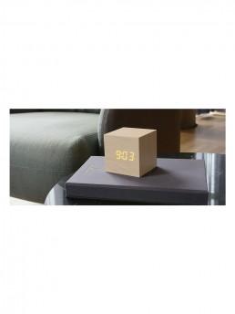Gingko Cube Alarm Clock - Maple & Amber LED - Lifestyle Photo