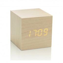 Gingko Cube Alarm Clock - Maple & Amber LED