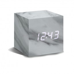 Gingko Cube Alarm Clock - Marble & White LED