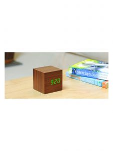 Gingko Cube Alarm Clock - Walnut & Green LED - Lifestyle Photo