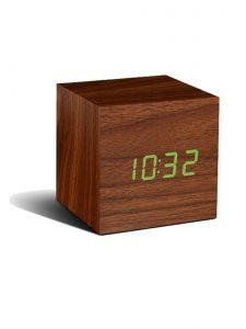 Gingko Cube Alarm Clock - Walnut & Green LED