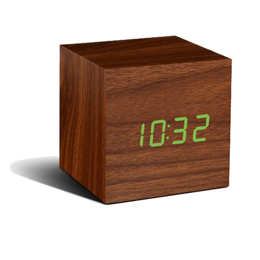 Gingko Cube Alarm Clock Walnut Green Led