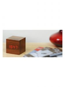 Gingko Cube Alarm Clock - Walnut & Red LED - Lifestyle Photo