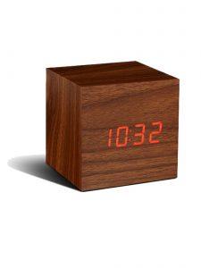 Gingko Cube Alarm Clock - Walnut & Red LED