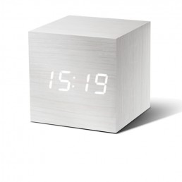 Gingko Cube Alarm Clock - White & White LED
