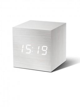 Gingko Cube Alarm Clock - White & White LED