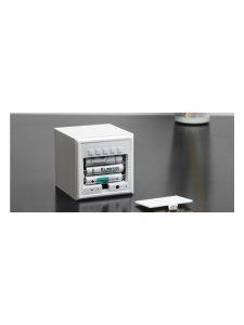 Gingko Cube Alarm Clock - White showing batteries