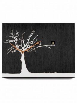 """Cucuruku"" Cuckoo Clock - Black Wood, White Tree, Orange Hands"