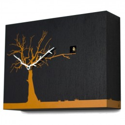 """Cucuruku"" Cuckoo Clock - Black Wood, Orange Tree, White Hands"