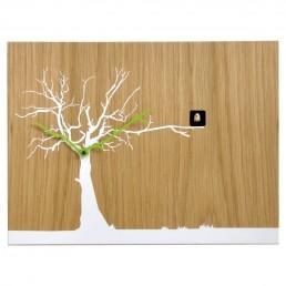"""Cucuruku"" Cuckoo Clock - Light Oak Wood, White Tree, Green Hands"