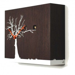 """Cucuruku"" Cuckoo Clock - Wenge Wood, White Tree, Orange Hands"