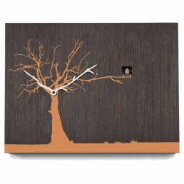 """Cucuruku"" Cuckoo Clock - Wenge Wood, Orange Tree, White Hands"