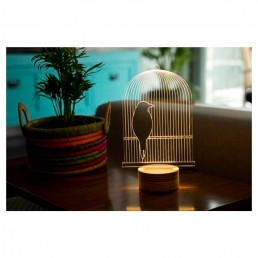 led birdcage table lamp
