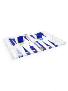 Acrylic Backgammon Set - Blue