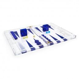 Acrylic Backgammon Set - Blue
