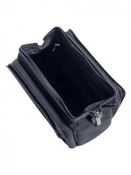 black cloth dopp kit -top open - hook & albert