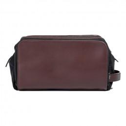 brown leather dopp kit - side view - hook & albert