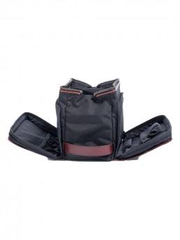 brown leather dopp kit - side pockets open - hook & albert