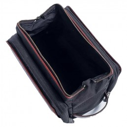 brown leather dopp kit - top open - hook & albert