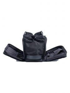 olive cloth dopp kit -side pockets open - hook & albert