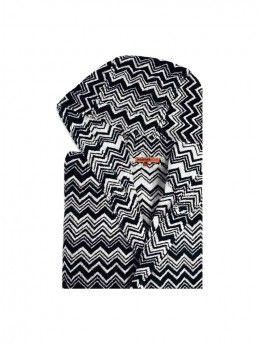 Keith Hooded Bathrobe By Missoni with Black & White Zig Zag Chevron Pattern
