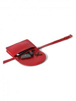 Red Luna Belt Bag WIth Fold Over Front