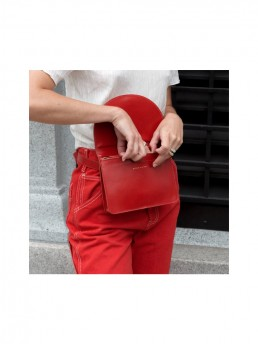 Red Luna Belt Bag WIth Fold Over Front