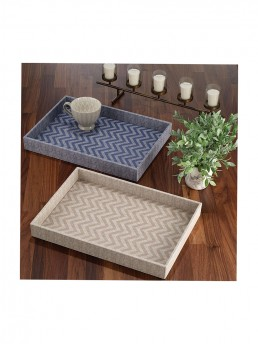 Blue Chevron Rectangular Tray