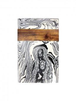 Zebra Marble & Wood Cheese Board