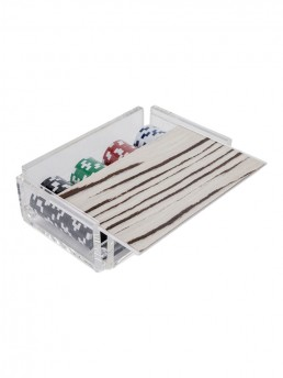 Modern Luxe Poker Chip Set in Acrylic With Wood Stripe Cover Open