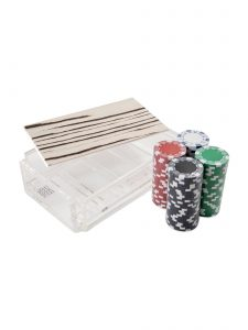 Modern Luxe Poker Chip Set in Acrylic With Wood Stripe Cover and Chips