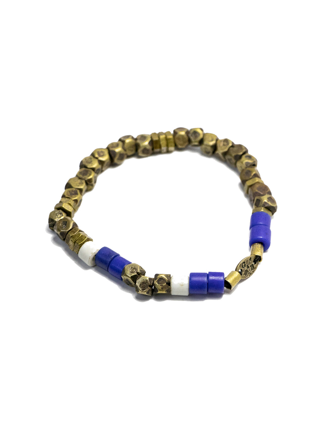Faceted Brass and Blue Bead Stretch Mens Bracelet