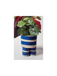 Handmade Blue and White Stripe Milking Stool Planter