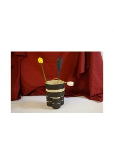Handmade Black and White Stripe Milking Stool Planter WIth Flowers