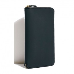 Black Tall Leather Coupe Wallet WIth Zip Around