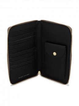 Black Tall Leather Coupe Wallet WIth Zip Around Open