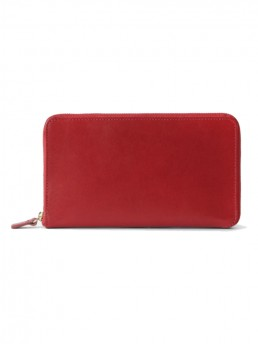 Cherry Red Tall Leather Coupe Wallet WIth Zip Around